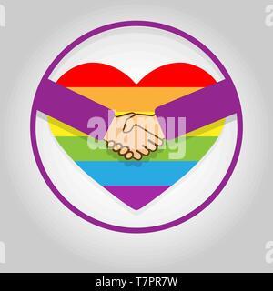 Círculo con un apretón de manos en el fondo del corazón en colores LGBT Imagen De Stock