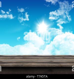 3D Render de una mesa de madera rústica mirando a un cielo soleado azul Imagen De Stock