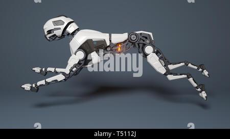 Perro robot se ejecuta sobre un fondo gris. Ilustración 3D Imagen De Stock