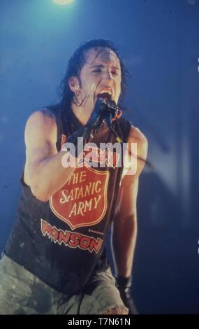 NINE INCH NAILS el grupo de rock estadounidense en abril de 1994 Trent Reznor Imagen De Stock