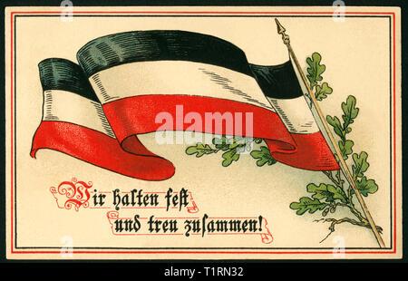 """Alemania, Hamburgo, Altona, WW I, propaganda postal con negro-blanco-rojo bandera y laural con el texto """"Wir halten treu und fest zusammen !"""" ( nos peguen firme y fielmente), enviaron 29. 09. 1915. , Additional-Rights-Clearance-Info-Not-Available Imagen De Stock"""