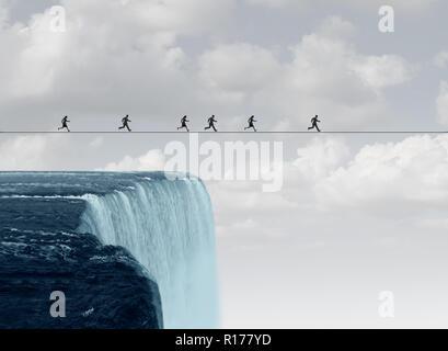 Grupo empresarial riesgo sobre una cuerda floja o el alambre alto encima de una cascada en una ilustración 3D de estilo. Imagen De Stock