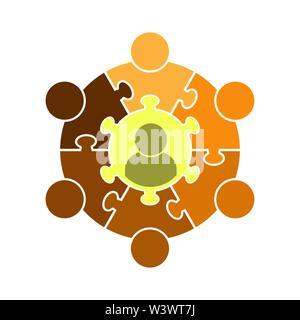 Trabajo en equipo logotipo.Círculo en la forma de un puzzle de siete piezas. Diseño plano Imagen De Stock