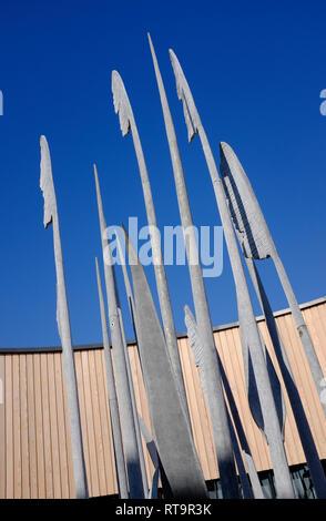 Esculturas de metal cañas escultura, el mirador facility, holkham estate, North Norfolk, Inglaterra Imagen De Stock