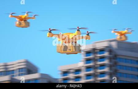 Tres aviones teledirigidos llevando una parcell. Ilustración 3d Imagen De Stock
