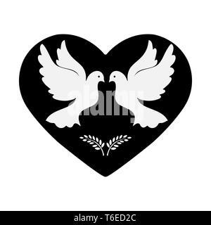 Palomas con rama de olivo en el fondo del corazón, diseño plano Imagen De Stock