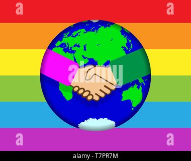 Apretón de manos en el fondo de todo el mundo. Arco iris en colores de fondo LGBT Imagen De Stock
