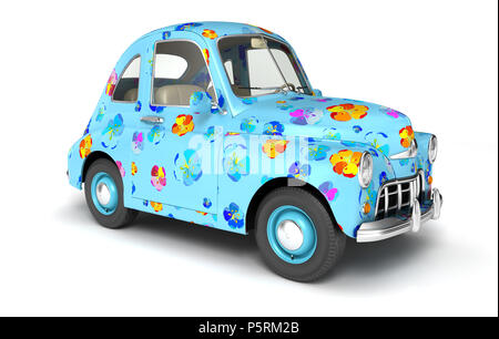Blue cartoon coche con flores impresas. Ilustración 3D Imagen De Stock