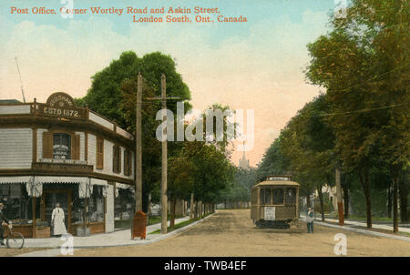 Oficina de Correos - Esquina Wortley Road y Askin South Street, London, Ontario, Canadá Fecha: circa 1905 Imagen De Stock