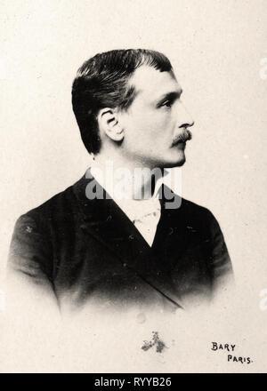 Retrato fotográfico de Courteline Colección de Félix Potin, de principios del siglo XX. Imagen De Stock