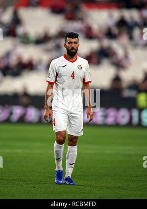 Enero 15, 2019 : Baha' Abdel-Rahman de Jordania en Palestina v Jordania en el estadio Mohammed Bin Zayed, en Abu Dhabi, Emiratos Árabes Unidos, AFC Copa Asiática, campeonato de fútbol asiático. Ulrik Pedersen/CSM. Imagen De Stock
