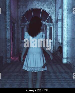 La hermana de horror, Retrato de un asesino mujer con hacha y cleaver,3D rendering Imagen De Stock