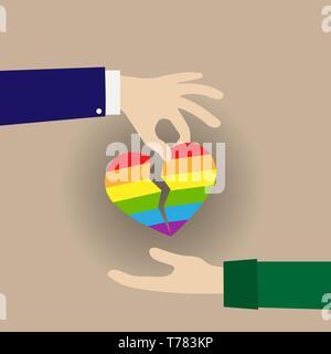 Corazón dividido en los colores de los LGBT pasó de mano en mano, diseño plano Imagen De Stock