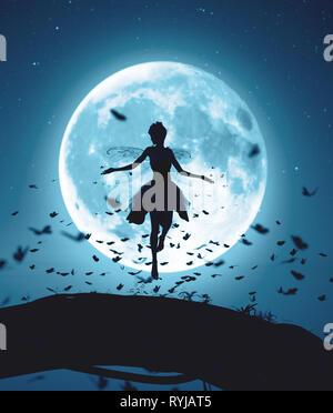 Representación 3D de un hada volando en una noche mágica, rodeada por rebaño mariposas en moonlight Imagen De Stock