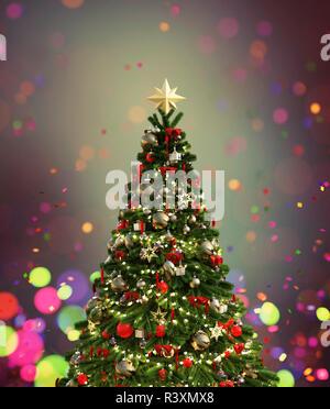 Árbol de navidad decorado con coloridas luces borrosa antecedentes,3d ilustración Imagen De Stock