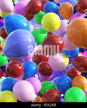 Globos de colores decorado para la festiva diseño de fondo,3d ilustración Imagen De Stock