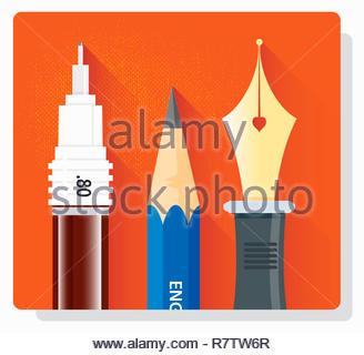 Cerca de plumilla, lápiz y pluma estilográfica en una fila Imagen De Stock
