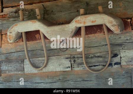 Horquilla de madera para bueyes, Qualla Reserva Cherokee, Carolina del Norte. Fotografía Digital. Imagen De Stock