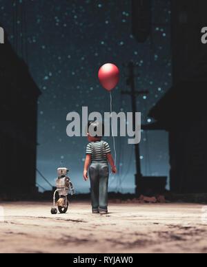 Muchacho caminando con el robot en la noche estrellada bagaje conceptual,3D rendering Imagen De Stock