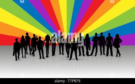 Siluetas negras de hombres y mujeres en el fondo de rayos en colores LGBT Imagen De Stock
