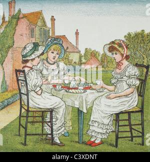Tea Party ilustración, por Kate Greenaway. Londres, Inglaterra, a finales del siglo XIX. Imagen De Stock