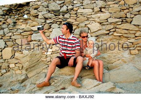 Los turistas en Mykonos, Grecia Imagen De Stock