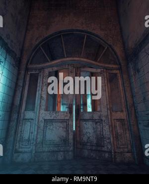 Las puertas que no deberían abrir,puertas en una vieja casa embrujada,3D rendering Imagen De Stock