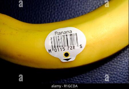 Plátano amarillo, código de barras adhesivo Imagen De Stock