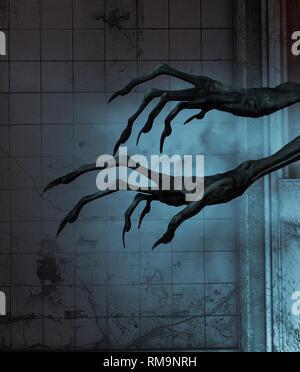El mal las manos fuera de las puertas de una casa embrujada,3D rendering Imagen De Stock