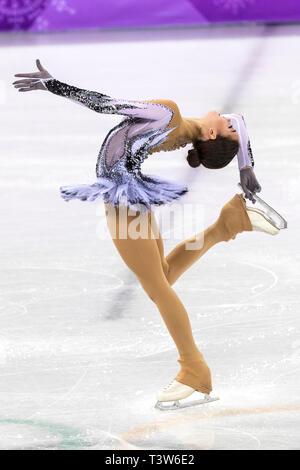 Alina Zagitova (OAR) competir en el Patinaje artístico - Corto de damas en los Juegos Olímpicos de Invierno PyeongChang 2018 > Imagen De Stock