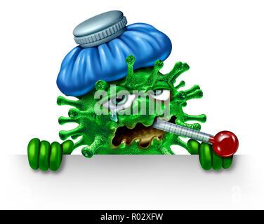 Influenza aviar de invierno y signo de carácter icono como símbolo de una infección de virus como enfermos febriles cartoon patógeno celda con una bolsa de hielo y termómetro. Imagen De Stock