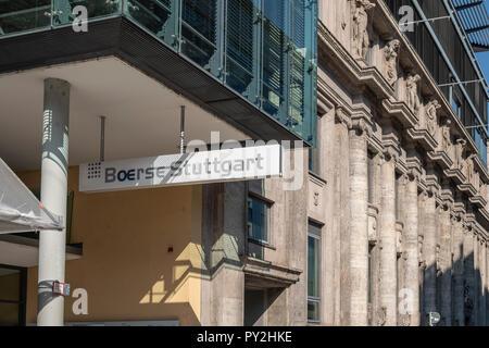 STUTTGART, Alemania - 30 de septiembre de 2018: la fachada del edificio de la bolsa de Stuttgart Imagen De Stock