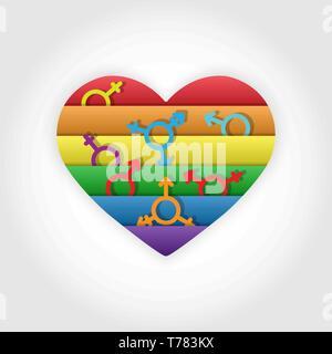 Corazón en los colores de símbolos de género LGBT en los colores de los GLBT Imagen De Stock