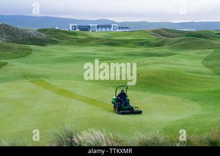 Vista de Machrie Golf Links Golf Course en Islay. En el interior de islas Hébridas, Escocia, Reino Unido Imagen De Stock