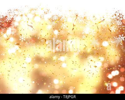 Christmas background de la caída de copos de nieve, confeti y luces bokeh Imagen De Stock