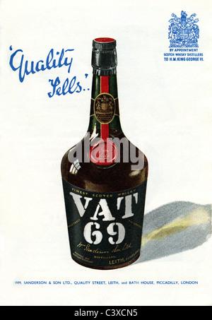 Anuncio de VAT 69, desde el Festival de Gran Bretaña, guía, publicada por HMSO. Londres, Reino Unido, Imagen De Stock