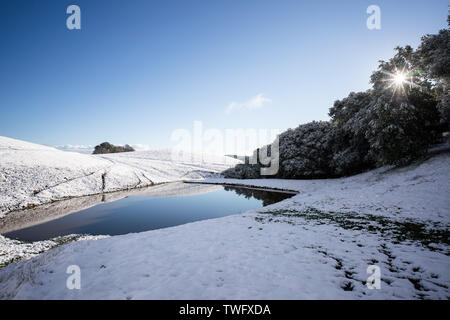 Las colinas cubiertas de nieve y un estanque, Livermore, California, Estados Unidos Imagen De Stock