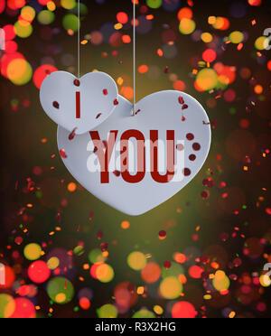 Corazón abstracto decoradas con coloridas luces borrosa antecedentes para san valentín,3D rendering Imagen De Stock