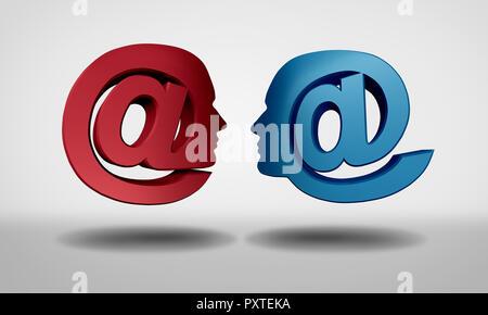 La comunicación a través de Internet y chat en línea como un símbolo de web y de correo electrónico en forma de personas comunicándose juntos, como los medios de comunicación social como un símbolo 3D Render. Imagen De Stock