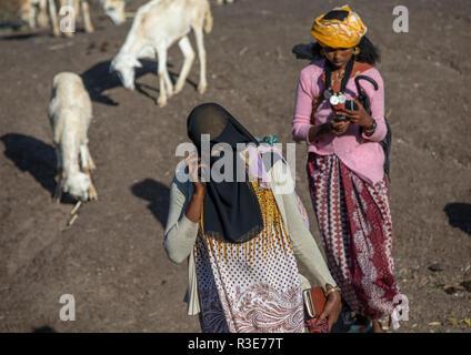 Mujer al teléfono Oromo llevar el burqa en el mercado, la región de Amhara, Etiopía, Senbete Imagen De Stock