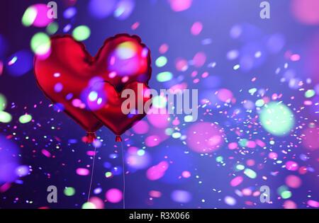 Corazón rojo abstracto globos con coloridas luces borrosa, para celebrar el Día de San Valentín de fondo de diseño,3d ilustración Imagen De Stock