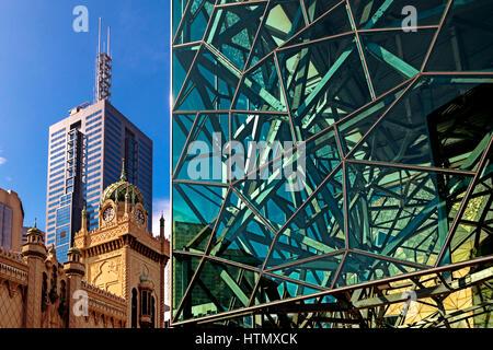 Arquitectura moderna en la Plaza de la Federación, Melbourne, Australia Imagen De Stock