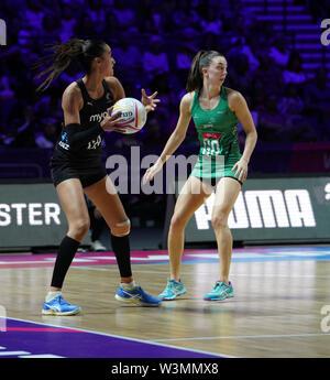 Maria Folau (NZ) en acción durante la vitalidad Netball World Cup 2019 a M&S Bank Arena Liverpool Reino Unido.Nueva Zelandia beat Irlanda: 77-28 Imagen De Stock