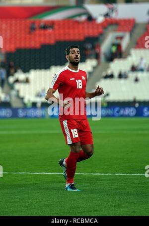 Enero 15, 2019 : Oy Dabbagh de Palestina en Palestina v Jordania en el estadio Mohammed Bin Zayed, en Abu Dhabi, Emiratos Árabes Unidos, AFC Copa Asiática, campeonato de fútbol asiático. Ulrik Pedersen/CSM. Imagen De Stock