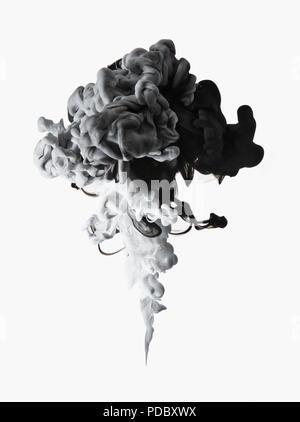 Negro, blanco y gris sobre fondo blanco la formación de tinta Imagen De Stock