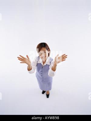 Oficina joven mujer en fondo blanco. Imagen De Stock