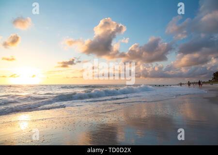 Puesta de sol a lo largo de la playa de Nápoles sobre el Golfo de México, Naples, Florida, EE.UU. Imagen De Stock