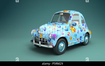 Cartoon coche con flores impresas. Ilustración 3D Imagen De Stock