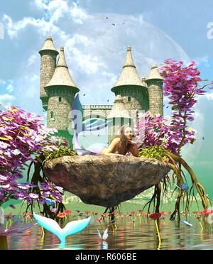3d de fantasía en la mítica isla de sirena,fantasía de cuento de hadas de una ninfa de mar,3d ilustración para la portada del libro o la ilustración de libros Imagen De Stock