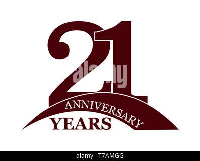 21 años aniversario, plano sencillo diseño, el logotipo Imagen De Stock